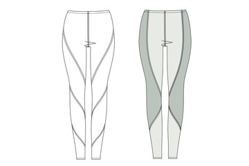 3D illustration of leggings. Technical drawing. Woman active wear fashion sketch. line art. Clothing template vector. Wall mural