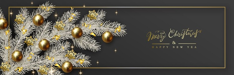 New Year Christmas design, white Christmas tree branch decorated with gold ball