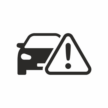 Car warning icon isolated on a white background