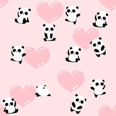 Cute cartoon panda bear seamless pattern, romantic animal background, for kids, for Valentine's day