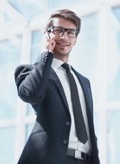 modern businessman talking on a mobile phone