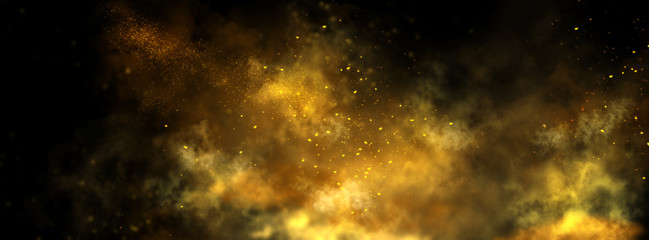 Abstract magic gold dust background over black. Beautiful golden art widescreen background