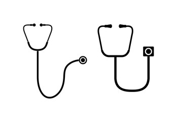 Two medical stethoscopes. Simple flat design.