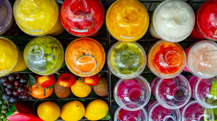 A wide selection of blended, frozen fruit smoothies made from organic grown fruits and juices and served in recycled plastic containers