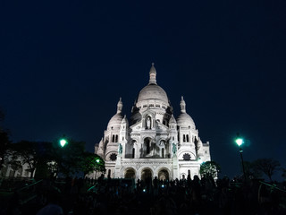 Sacre coeur church in Paris at night