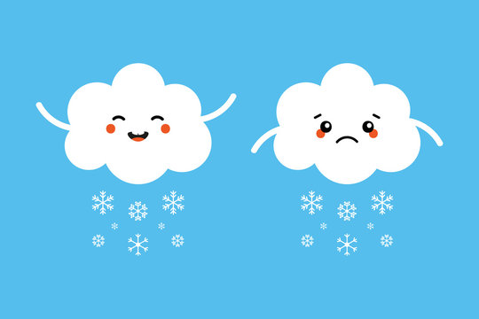 Set, collection of snowing cloud characters, sad and happy, expressing their emotions about the winter weather.