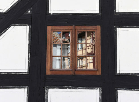 A detail of a window is pictured at a medieval half-timbered house in UNESCO World Heritage Site of Quedlinburg