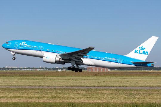 VIJFHUIZEN, THE NETHERLANDS - June 28, 2019: Dutch KLM Boeing 777-200 with registration PH-BQD taking off runway 36L (Polderbaan) of Amsterdam Airport Schiphol.