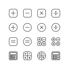 Set of calculator line icon design, black outline vector icons, isolated against the white background, mathematic vector illustration.