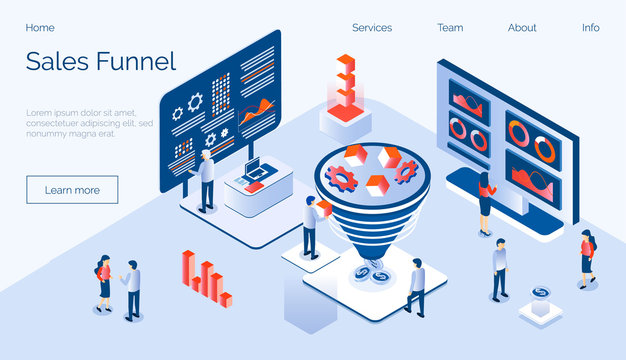 Sales funnel isometric concept vector with tiny people, diagram, coins, gears, cube