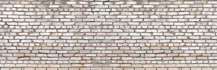 Fotobehang - Old vintage dirty white brick wall texture. Brick panoramic background