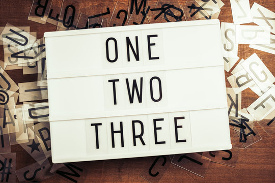 One Two Three Step Words on Lightbox