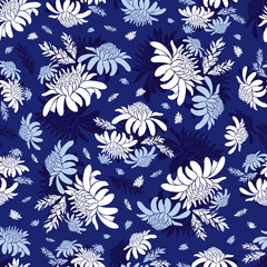 Vector blue torch ginger flower tropical floral seamless pattern. Suitable for textile, gift wrap and wallpaper.