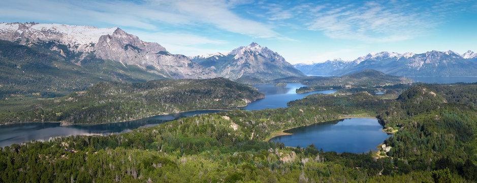 Amazing panoramic view from Cerro Campanario, San Carlos de Bariloche, Argentina, Patagonia, South America