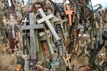 The picture from the hill of crosses by Šiauliai in Lithuania. Many crosses on this religious places and many of them old and abandoned.