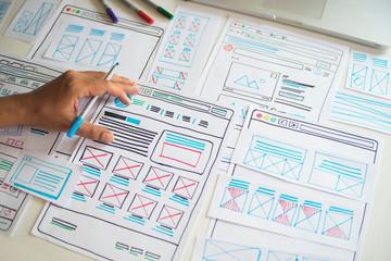 Website designer Creative planning application developer development draft sketch drawing template...