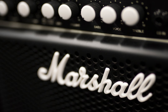 Detail of the Marshall amplifier. Marshall Amplification is an English company that designs and manufactures music equipment, founded at 1960.