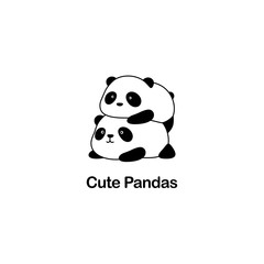 Vector Illustration / Logo Design - Cute funny fat baby cartoon giant panda bears, one panda lie on another panda