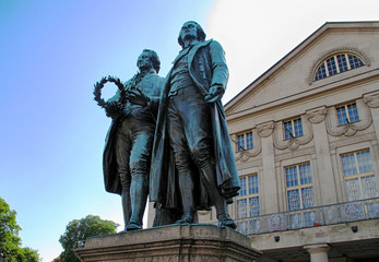 Aluminium Prints Historic monument Weimar, Thuringia,Germany-Famous german writers Johann Wolfgang von Goethe-Schiller Monument in front of the german Deutsches Nationaltheater
