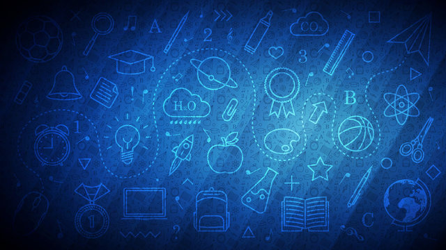 Back to School abstract blue background with different line icons and school pattern