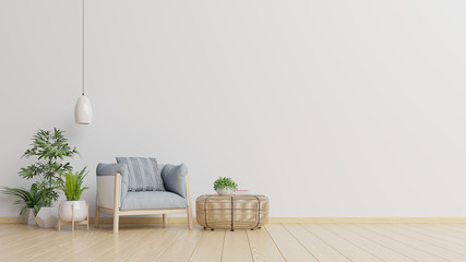 The interior has a armchair on empty white wall background. Fototapete