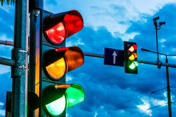 Traffic lights over urban intersection