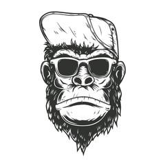 illustration of gorilla monkey in baseball cap. Design element for poster, t shirt, emblem, sign.