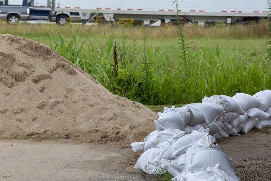 sand bag barrier to prevent flood water flooding