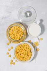 breakfast cereal for children - crispy stars, top view vertical