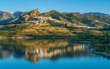 In de dag Blauwe jeans Panoramic sight of the beautiful Zahara de la Sierra, province of Cadiz, Andalusia, Spain.