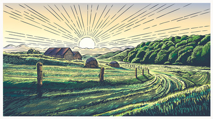 Keuken foto achterwand Beige Rural landscape with village in engraving style and painted in color. Vector Illustration.