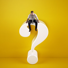 Man sitting on top of a big white question mark on a yellow background