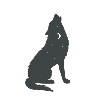Silhouette of a howling wolfwolf