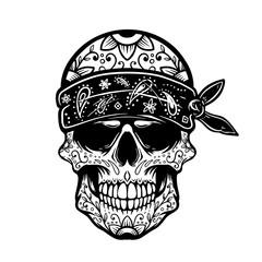 Mexican sugar skull in bandana. Design element for poster, t shirt, card, banner. Vector illustration