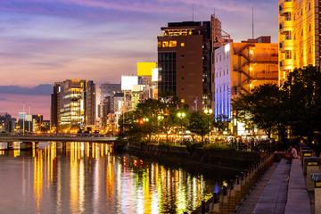 Foto auf AluDibond Braun Fukuoka Naka River sunset Yatai Food stall