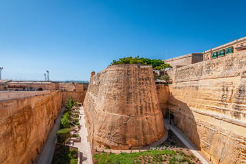 Ancient Fortification Wall at City Gate of Valletta, Malta