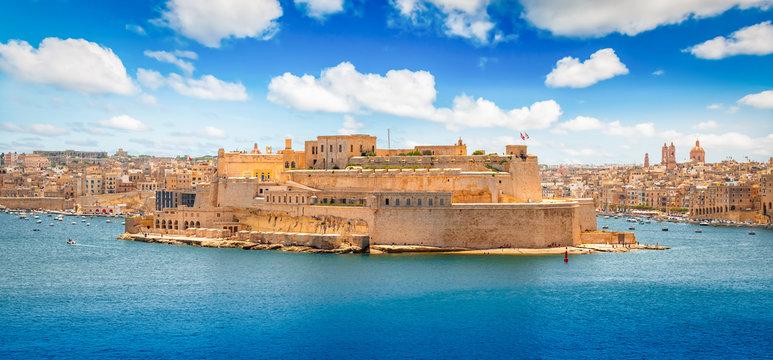 Grand Harbour landscape, Valletta, Malta.