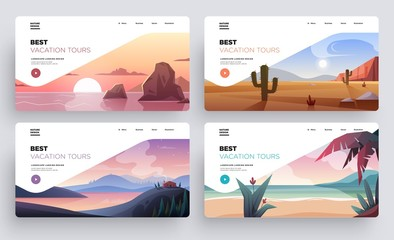 Deurstickers Wit Collection of landing page templates. Modern landscape backgrounds. Best vacation tours commercial