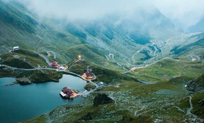 Foto auf Leinwand Pool Balea lake in Fagaras mountain, Romania. evening landscape