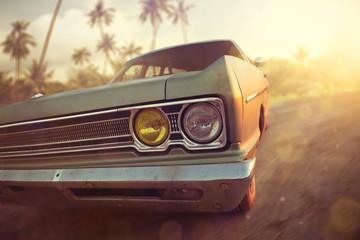 Photo sur Plexiglas Vintage voitures American vintage car in a tropical sunset