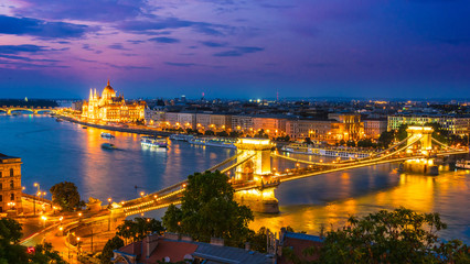 Printed roller blinds Budapest Panoramic view of Budapest by night