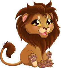 Adorable little lion with brown mane in a sitting position isolated on white background