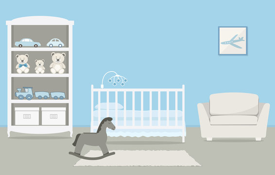Kid's room for a newborn baby. Interior bedroom for a baby boy in a blue color. There is a cot, a wardrobe with toys, armchair, a rocking horse and other things in the picture. Vector illustration