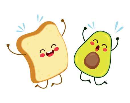 Cute best friends toast and avocado characters jumping happy