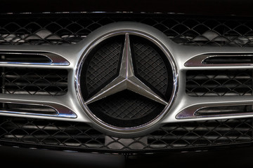 Detail of the Mercedes car. Company became known as Daimler-Benz AG, later Mercedes-Benz using its trade name.