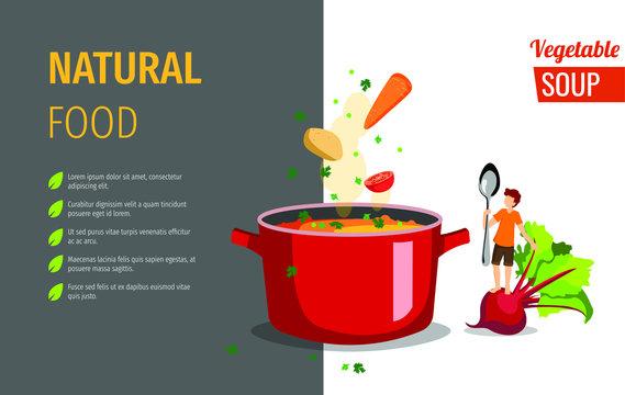 Banner design for vegetable soup, restaurant menu, healthy recipes. Vector illustration can be used for poster, banner, menu, flyer, brochure.