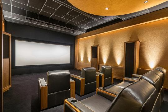 Stunning stylish home cinema. Luxury home theater design