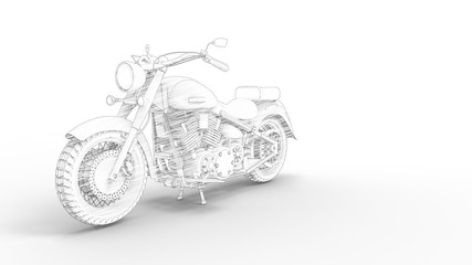 Motorcycle cruiser sketch isolated in white studio background Fototapete