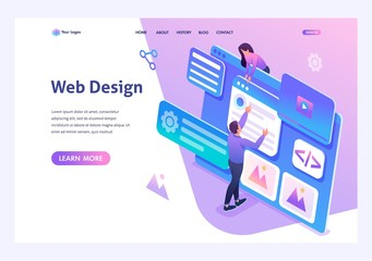 Isometric concept young people are engaged in web design, website page development. Template landing page for website