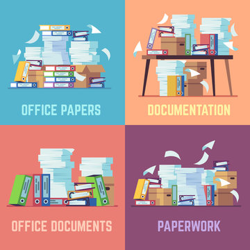 Office paper documents. Routine bureaucracy paperwork, accounting papers pile, stacked office file folders. Flat vector concepts